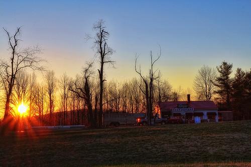 truck sunrise canon restaurant early spring woods pickup hdr 60d tugglesgap