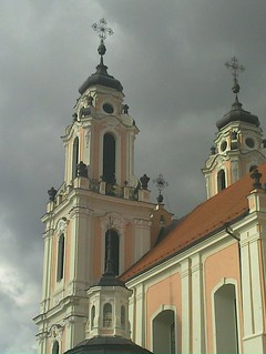 Imageof Šv. Kotrynos bažnyčia. pink church cloudy towers lithuania vilnius lietuva