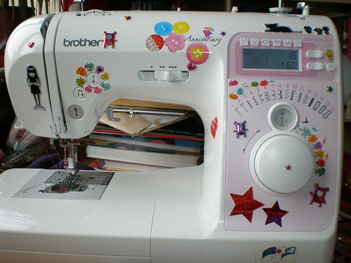 sewing machine with stickers