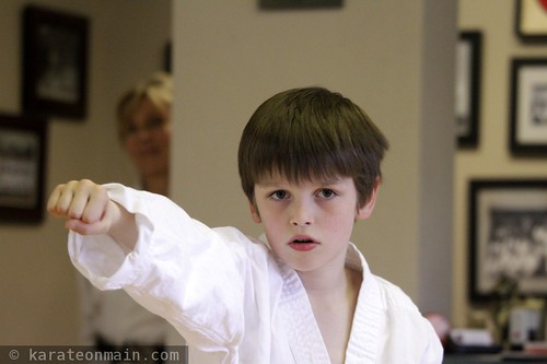 nick in his first ever karate exam