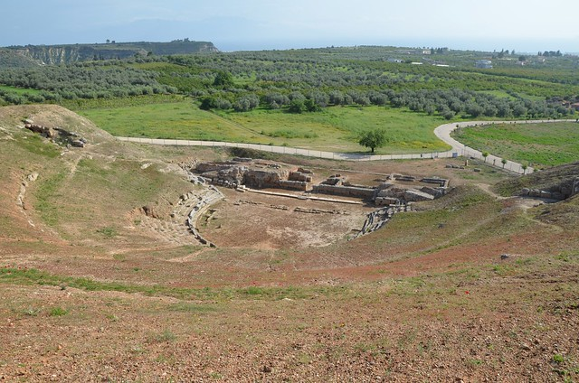 The Greco-Roman theatre of Sikyon, built between 303 and 251 BC and altered at least twice by the Romans, Sikyon, Greece