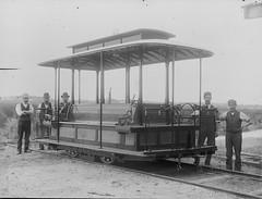 Workmen with tram dummy van