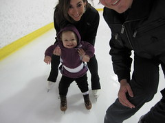 Bella Porter ice skating with Emme Porter and Bruce Porter Jr