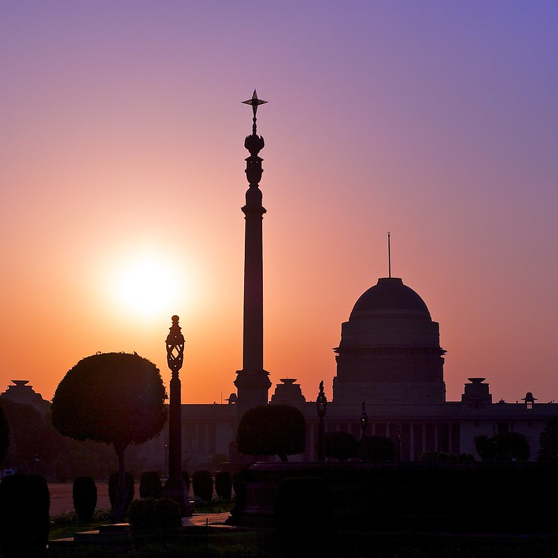Sun setting over the Presidential Palace, New Delhi