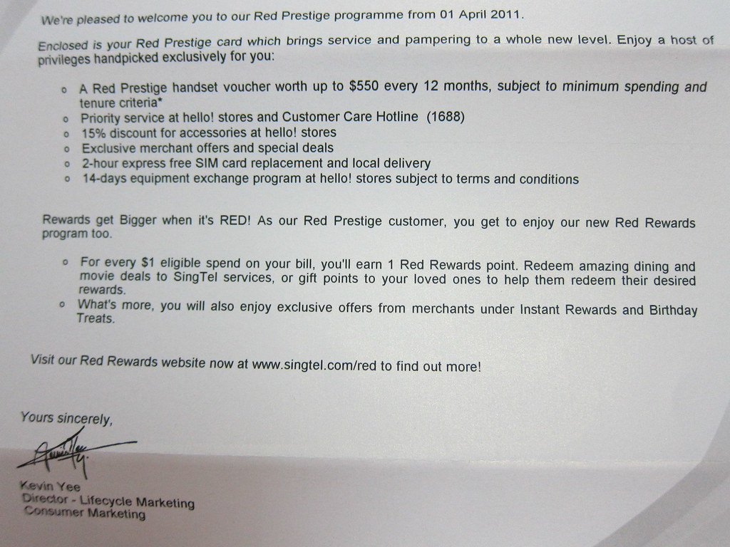 SingTel Red Prestige - Letter Close Up