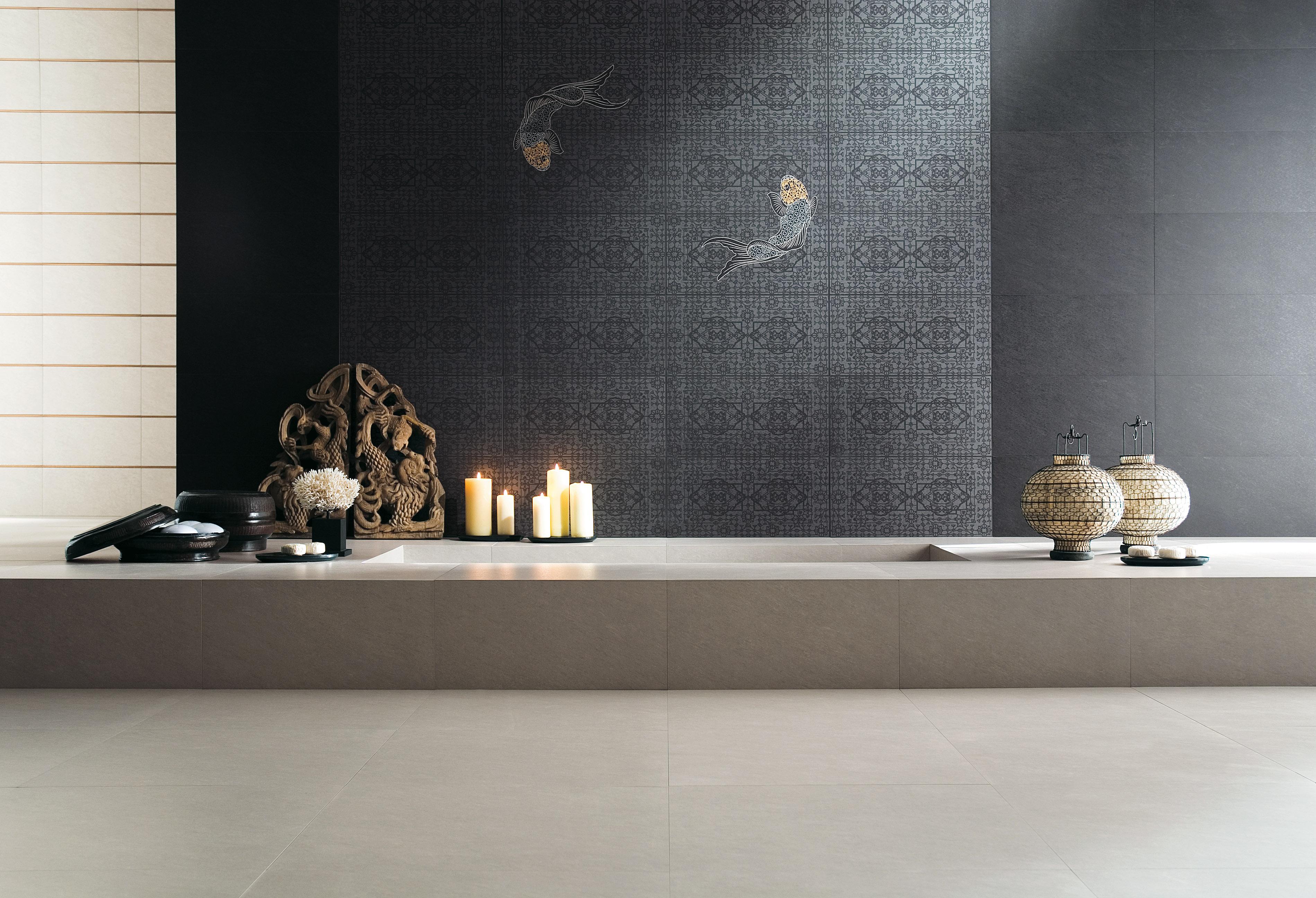 Carrelage salle de bain samsara ardoise perle novoceram - Carrelage salle de bain original ...