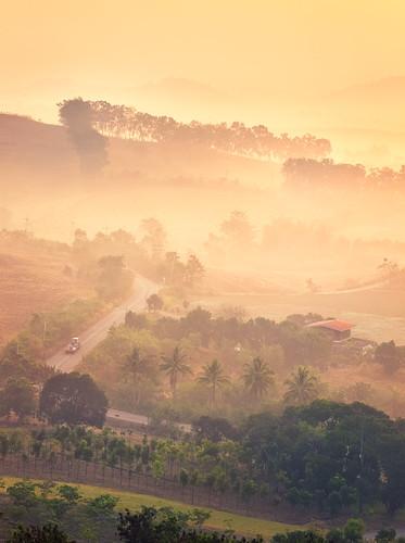 morning sunrise landscape thailand countryside foggy hills greenery tranquil windingroad khaoyai nakhonratchasima salakhaoyairesort