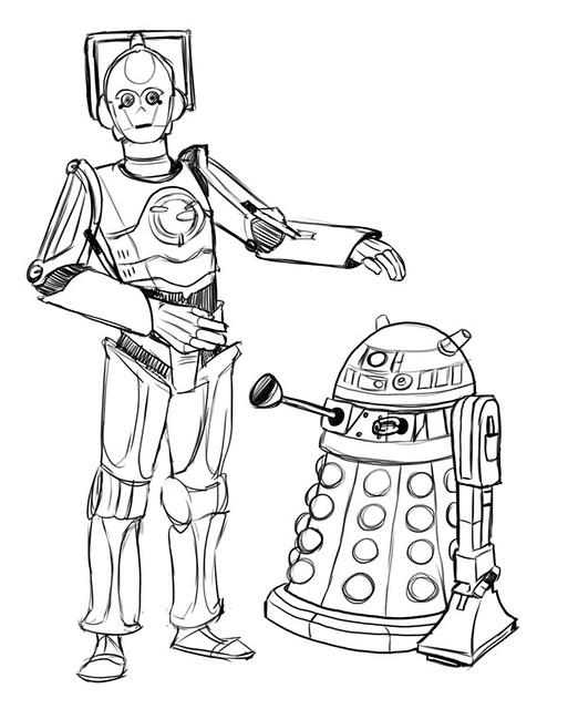 R2 D2 Dalek C 3po Cyberman Sketch Coloring Page