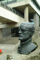 Bust of James Joyce in front of the Tierney Building