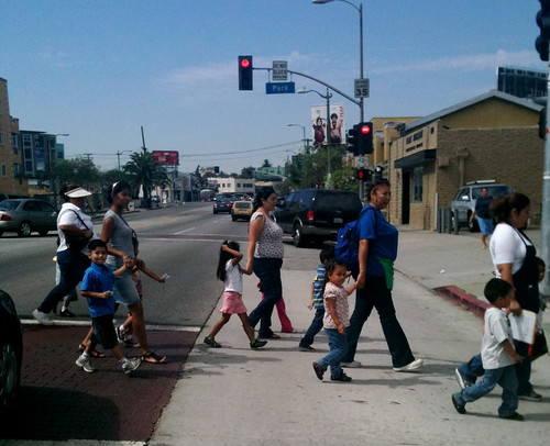Crossing the Street in Echo Park.  Photo Credit: J. Meaney