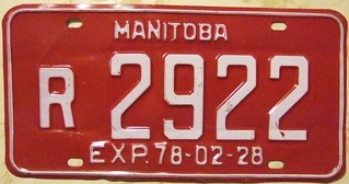 MANITOBA EXP. 78-02-28 ---RECOVERY VEHICLE PLATE