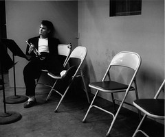 Chet Baker sitting alone after a Los Angeles recording session, 1953, by Bob Willoughby