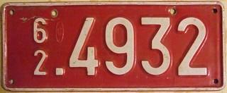 BELGIUM 1962 ---TEMPORARY PLATE