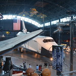 Steven F. Udvar-Hazy Center: Space Shuttle Enterprise (starboard full view, fore, with more of the space exhibit visible)
