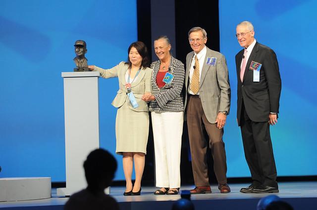 Alice, Jim, and Rob Walton present the Sam M. Walton Entrepreneur of the Year Award at the 2011 Walmart Shareholders Meeting