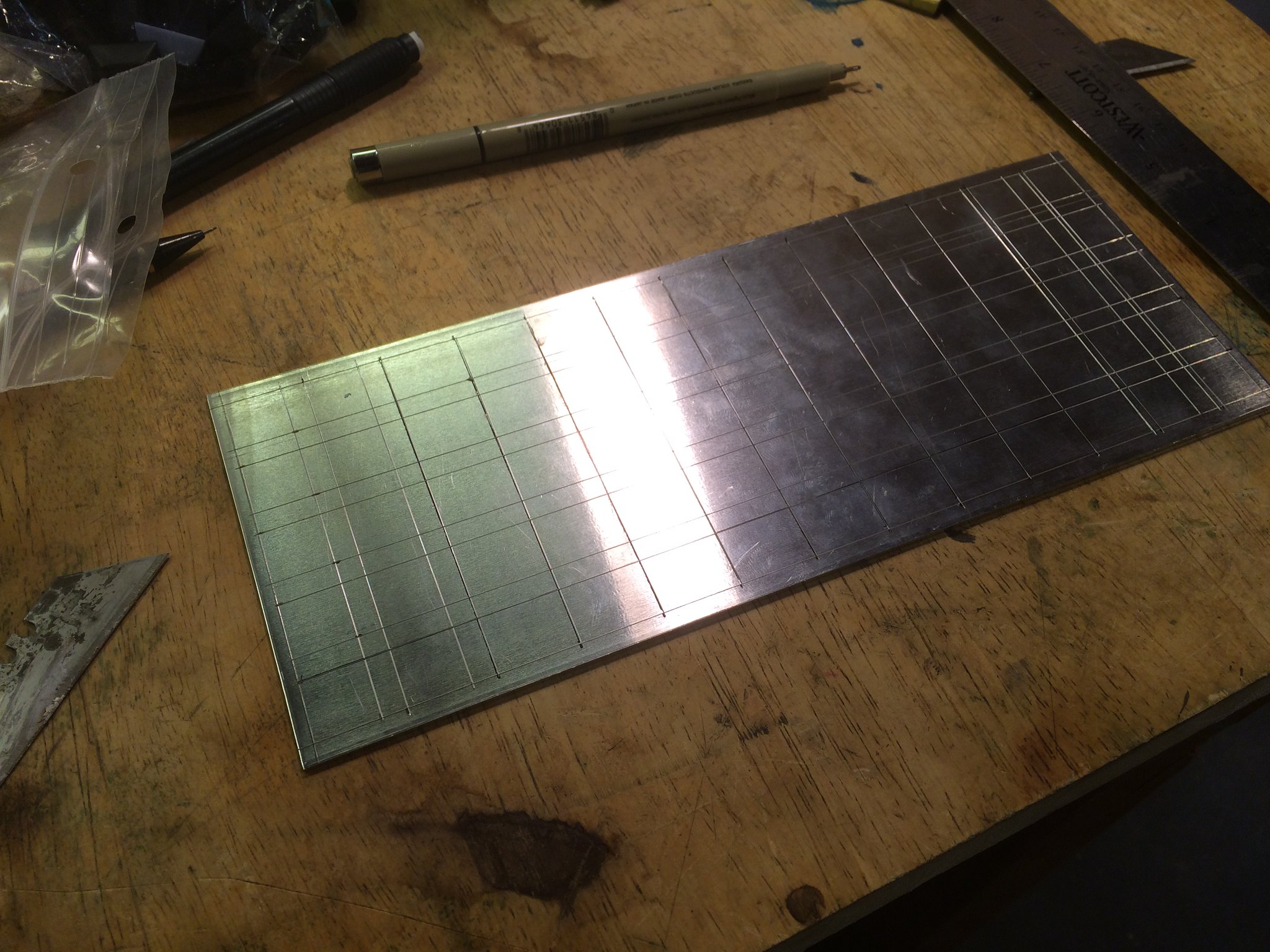 Scribed aluminum sheet
