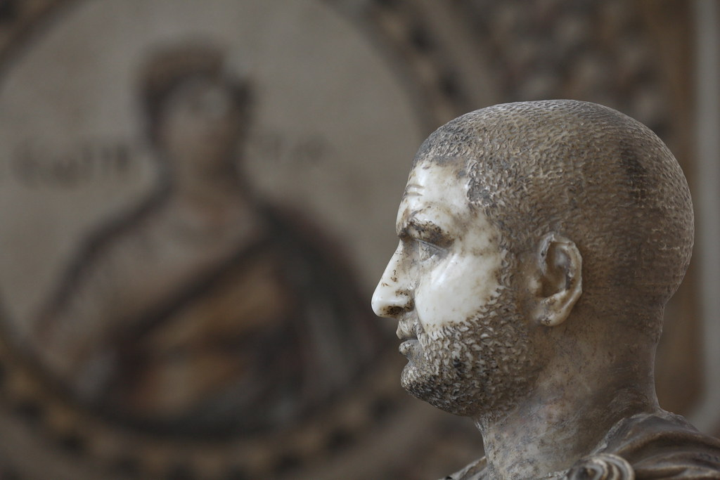 Bust of Emperor Trebonius Gallus with Mosaic Bokeh