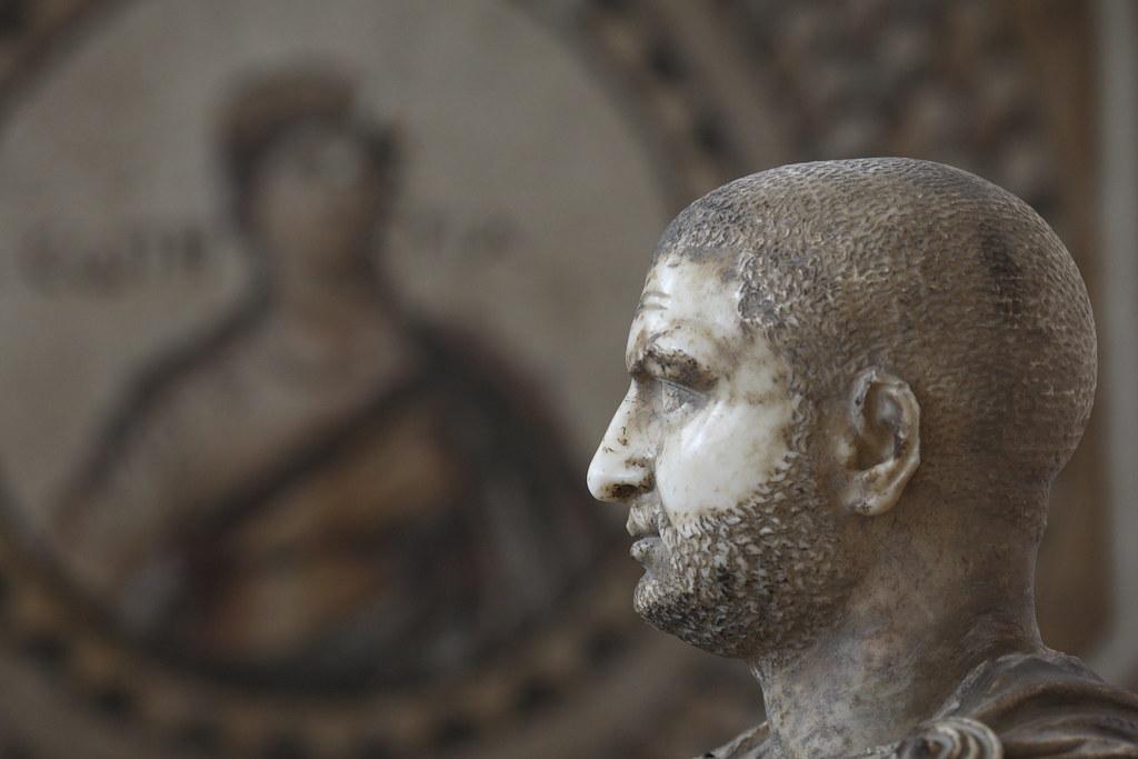 Bust of Emperor Trebonius Gallus with Mosaic Bokeh