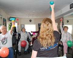 Suzanne Welsh teaches a class at HOPEFitness in North Bellmore, N.Y.