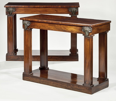 Clinton Howell Antiques:  A very fine pair of regency mahogany console tables