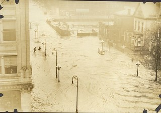 Flood Conditions at West Fourth Street, Dayton, OH - 1913 Flood