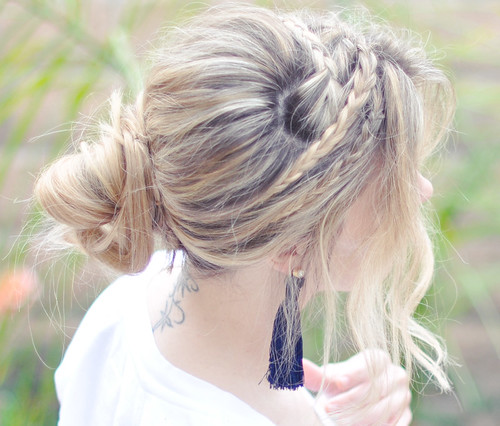 Messy Rope Braids hair tutorial - side and tassel earring