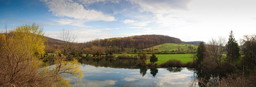 trees panorama cloud sun lake color reflection water colors clouds painting pond prairie