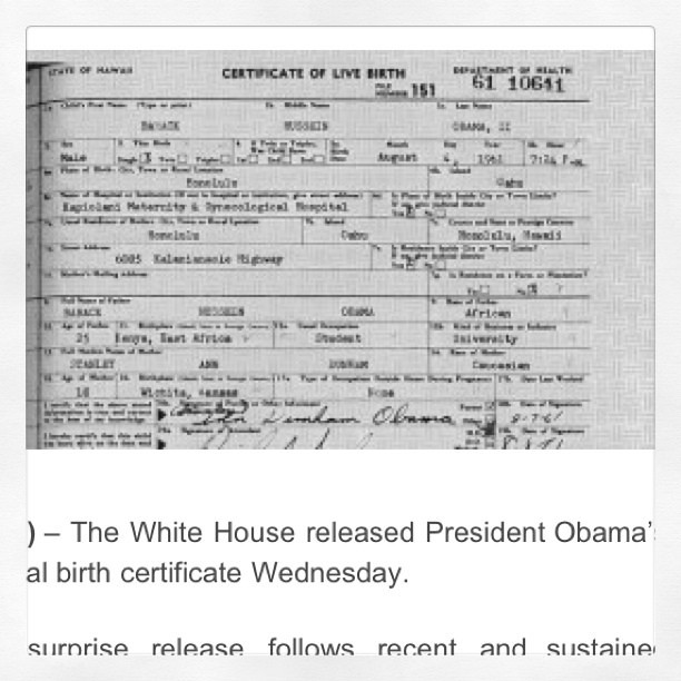 Obama's Long Form Birth Certificate, The Real Thing