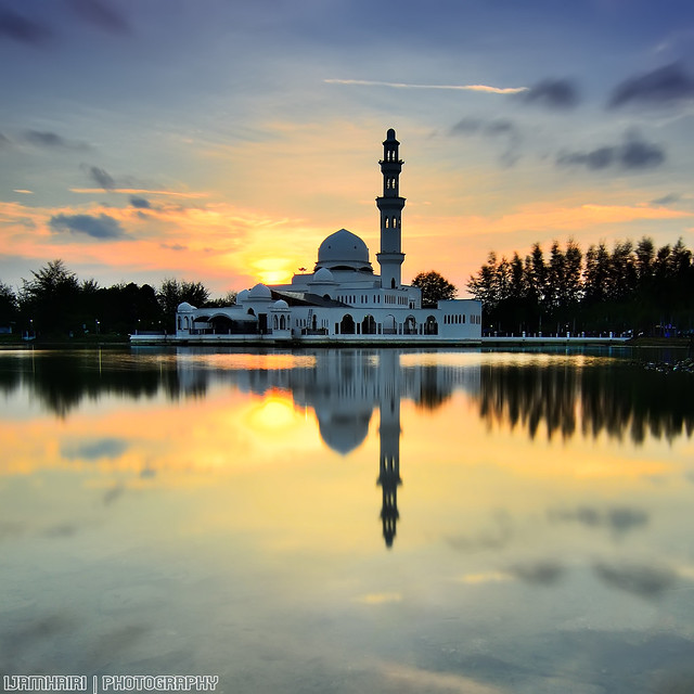 The Floating Mosque during Sunset
