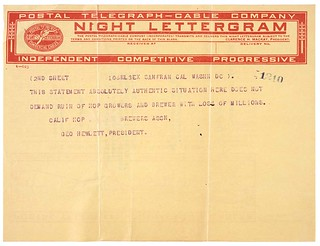 Night Lettergram to John E. Raker from California Hop Growers, Page 2