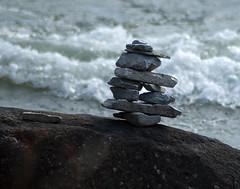 Rock Sculpture and Volunteer