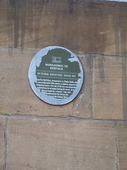 Photo of Philip Webb, Bell Bros, and Dorman Long green plaque