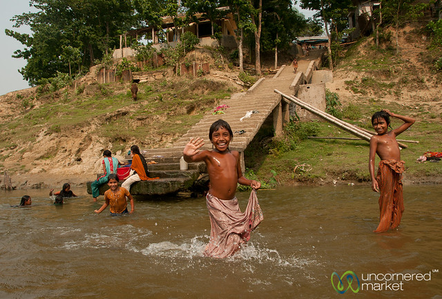 Children Bathing and Playing - Shangu River near Bandarban, Bangladesh