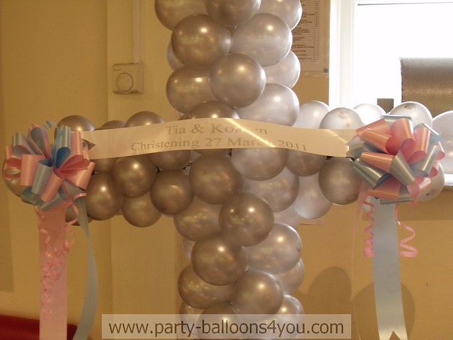 Christening balloon decorations flickr photo sharing for Balloon decoration ideas for christening