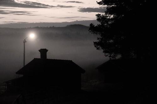 morning fog sunrise lowlight sweden enviken