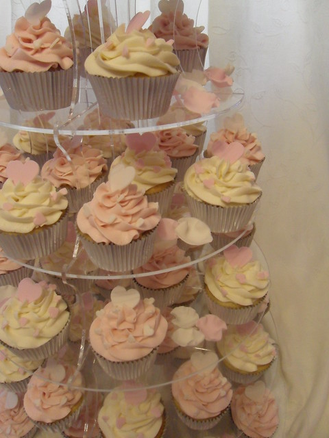 Pink Ivory Wedding Cupcake Tower Simple but effective Pink Ivory with