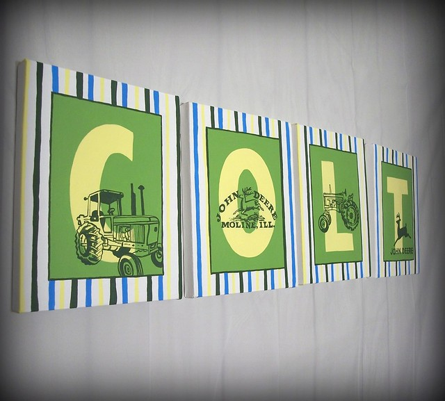 John Deere Wall Decor : John deere name wall art for children letter