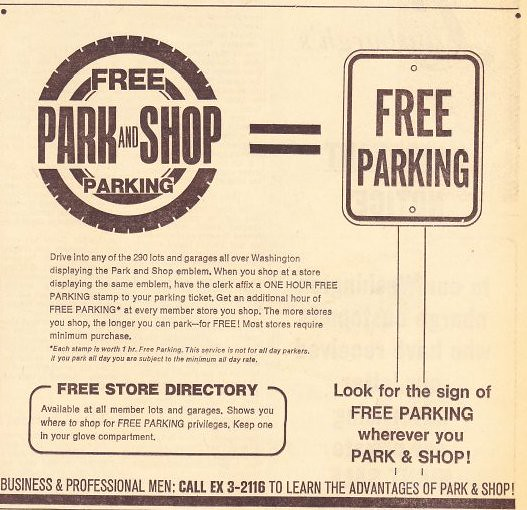 Park and Shop ad, Washington Star, 4/10/1968