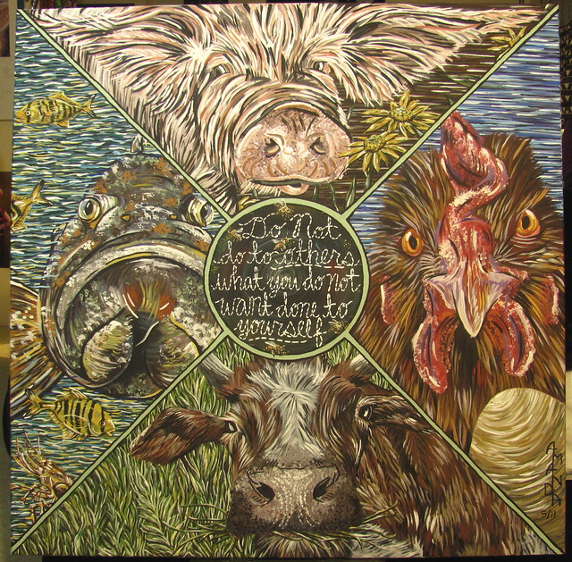 Vegan animal rights art a gallery on flickr for Golden rule painting