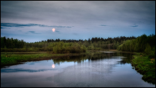 trees sky moon reflection grass night clouds river hdr 9ex1ev