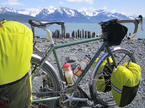 <p>Gunnar Grand Tour against the mountain backdrop by Seward AK.  This is Leonard Fancher's ride.  Painted Monetary Green.  60411</p>