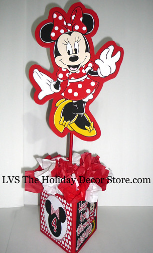 Minnie mouse personalized centerpiece red white black