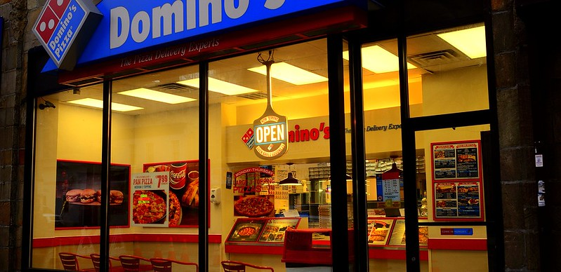 A Domino's Pizza storefront in Long Beach, New York