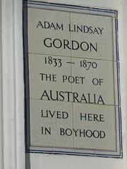 Photo of Adam Lindsay Gordon white plaque
