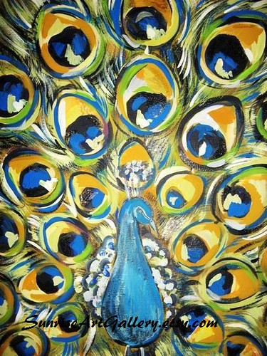 Peacock acrylic painting