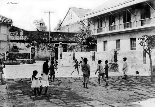 Kids playing, patio of the Recoletos Church, Intramuros, unknown date before the destruction of WWII, Intramuros, Manila, Philippines