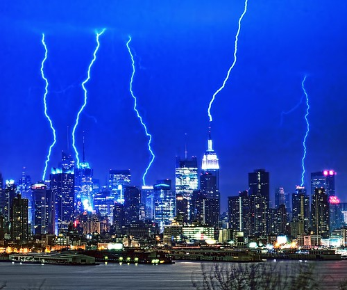 city nyc newyorkcity longexposure ny newyork storm reflection rain skyline geotagged newjersey timessquare esb bankofamerica hudsonriver empirestatebuilding gothamist lightning rayo thunder hdr hoboken newyorktimes weehawken westnewyork unionhill mudpig stevekelley