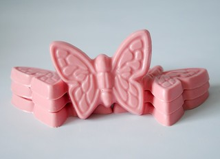 Hand-made pink butterfly chocolates