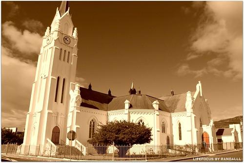 beautiful bredasdorp church in sepia