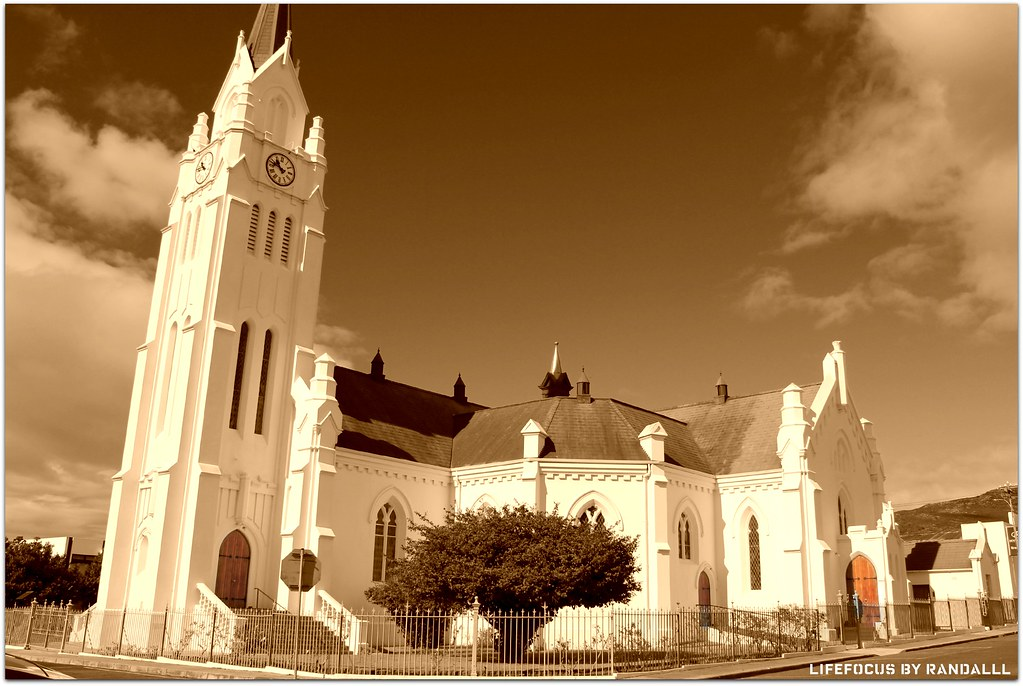 beautiful bredasdorp church in sepia